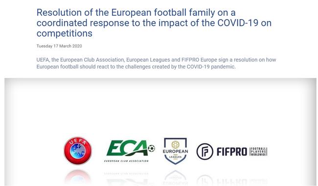 Declaración oficial de la UEFA
